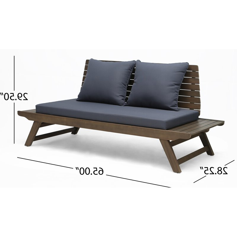 Featured Photo of Bullock Outdoor Wooden Loveseats With Cushions