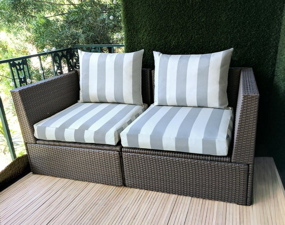 Bullock Outdoor Wooden Loveseats With Cushions Within Preferred Ikea Outdoor Slip Cover, Ikea Kungso Cushion Covers, Custom Kungso Ikea  Decor, Bespoke Arholma Covers, Gray Canopy Stripe (View 10 of 20)