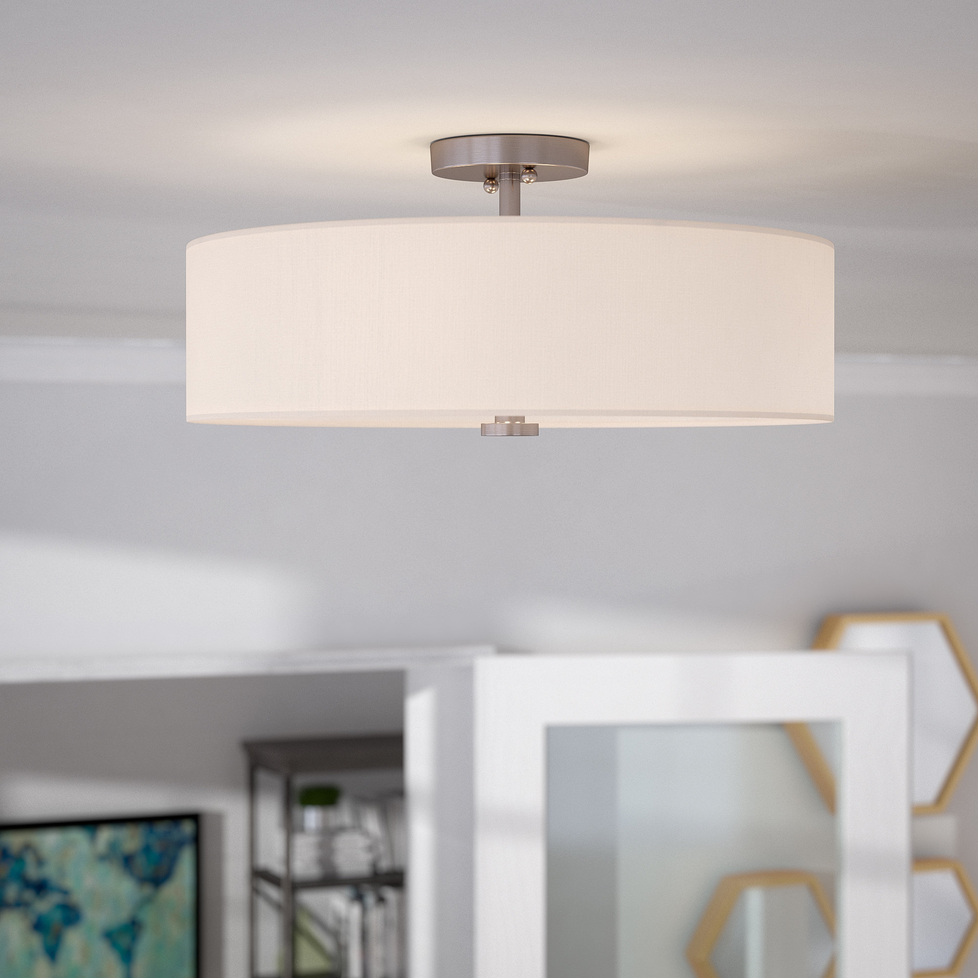 Burgoon 4 Light Semi Flush Mount With Most Recent Breithaup 4 Light Drum Chandeliers (View 10 of 20)