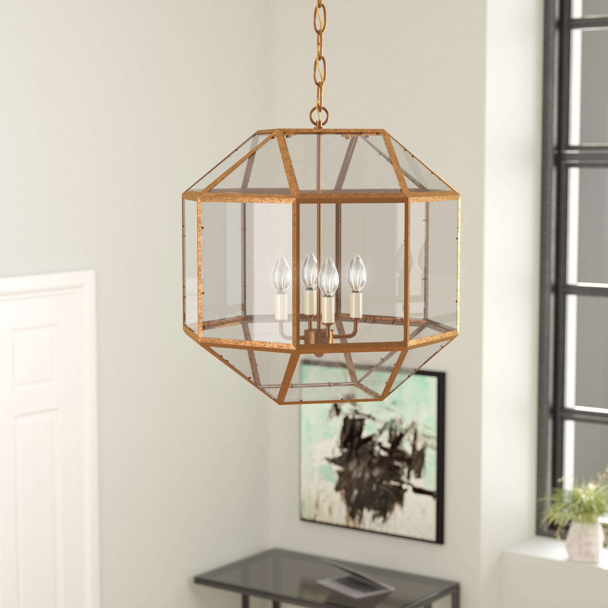 Burkeville 4 Light Geometric Chandelier In Best And Newest Tiana 4 Light Geometric Chandeliers (View 2 of 20)