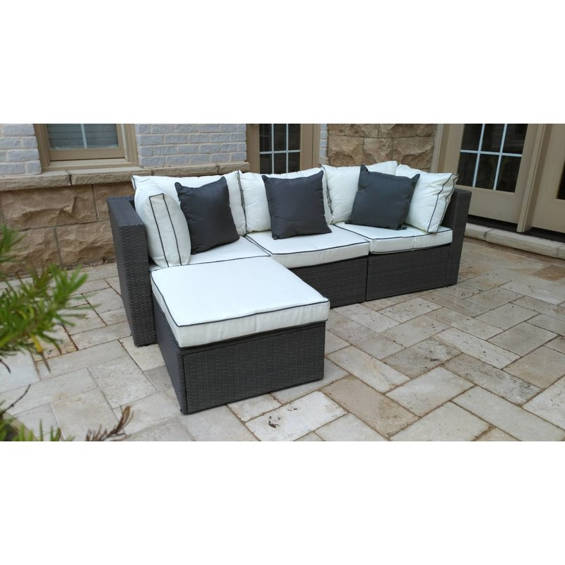 Burruss Patio Sectional With Cushions Pertaining To Recent Katzer Patio Sofas With Cushions (View 2 of 20)