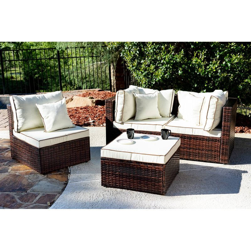 Burruss Patio Sectional With Cushions Regarding Most Up To Date Katzer Patio Sofas With Cushions (View 3 of 20)