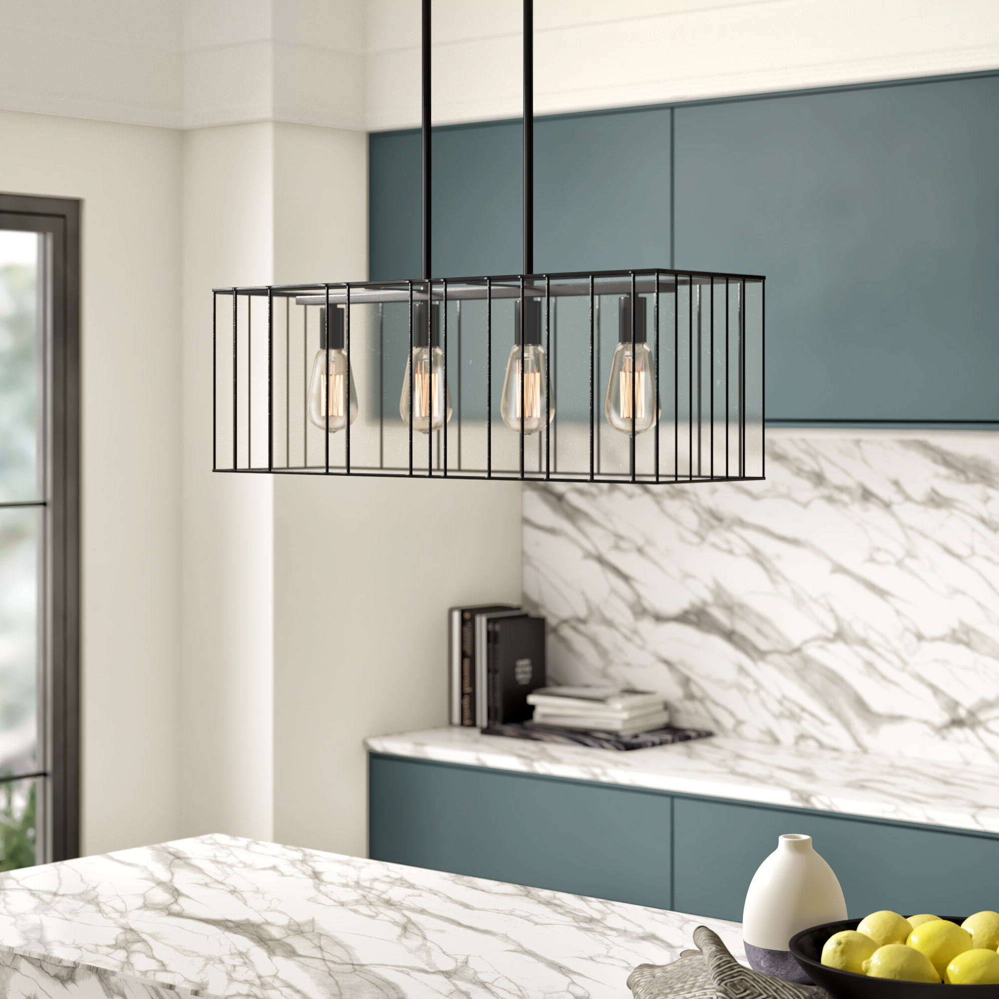 Byford 4 Light Kitchen Island Linear Pendant Intended For 2019 Odie 8 Light Kitchen Island Square / Rectangle Pendants (View 2 of 20)