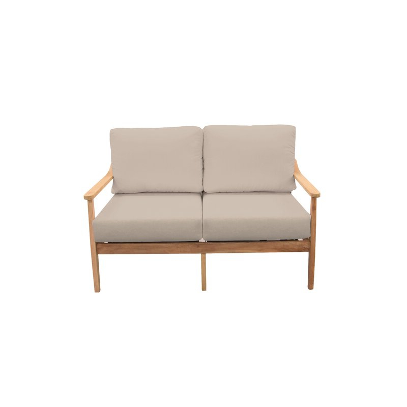 Calila Teak Loveseats With Cushion Inside Most Recent Amador Teak Loveseat With Sunbrella Cushions (View 5 of 20)