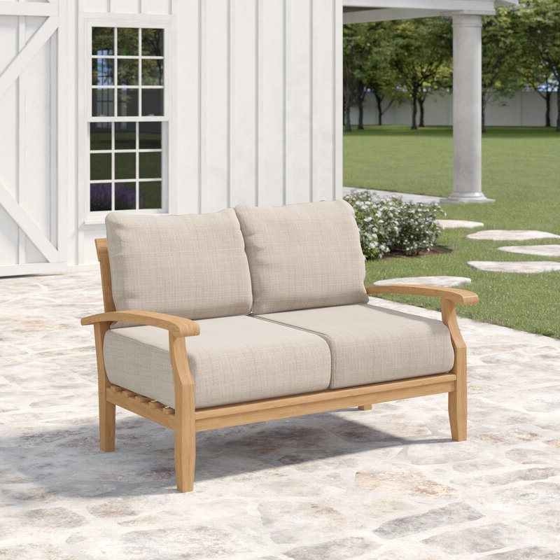 Calila Teak Loveseats With Cushion Intended For Latest Summerton Teak Loveseat With Cushions (View 15 of 20)