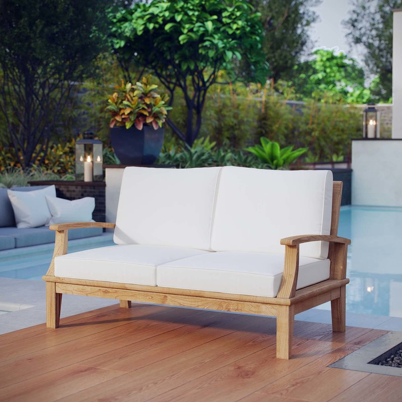 Calila Teak Loveseats With Cushion Throughout Fashionable Elaina Teak Loveseat With Cushions (View 7 of 20)