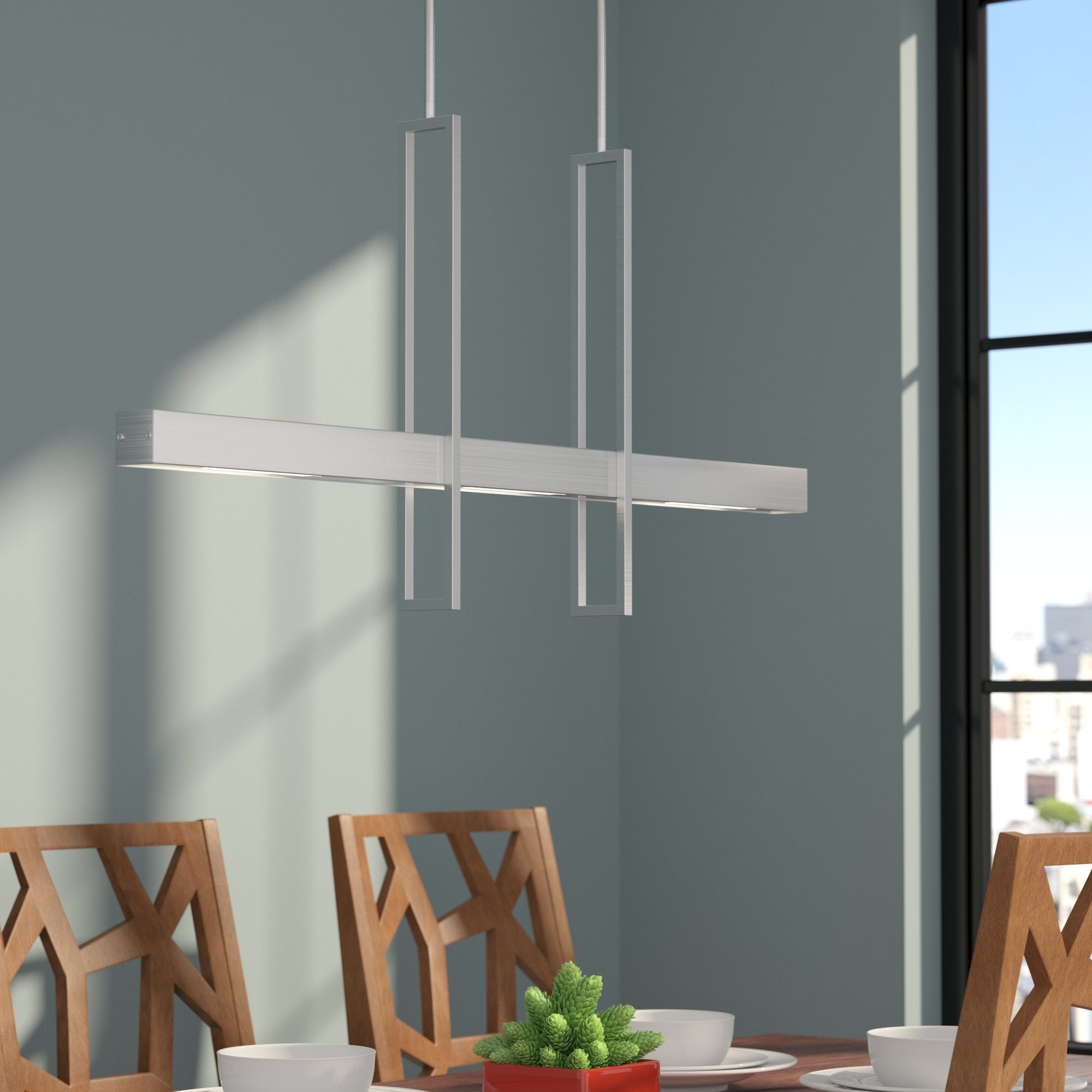 Callington 1 Light Led Single Geometric Pendants With Regard To 2020 Callington 2 Light Led Kitchen Island Linear Pendant (Gallery 5 of 20)