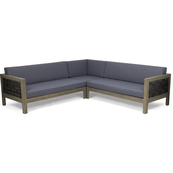 Calvin Patio Loveseats With Cushions With Regard To Most Popular Kennison Patio Sectional With Cushions (Gallery 8 of 20)