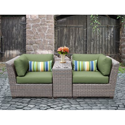 Camak Patio Loveseats With Cushions With Popular Rosecliff Heights Meeks 3 Piece Rattan Conversation Set With (View 6 of 20)