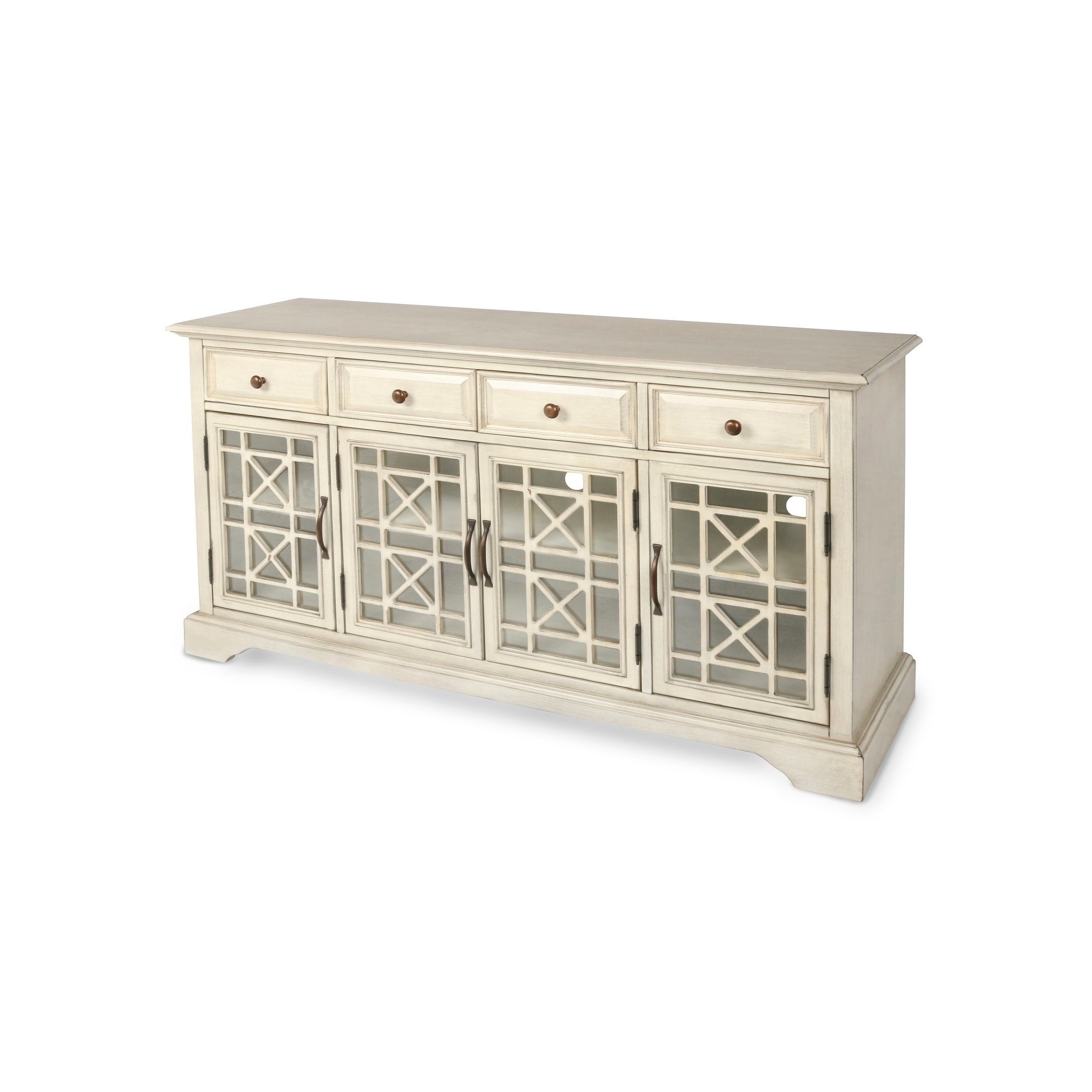 Cambrai Sideboards Pertaining To Best And Newest Gilbert Antique White 4 Drawer 4 Door Accent Credenza, Clear (Gallery 13 of 20)
