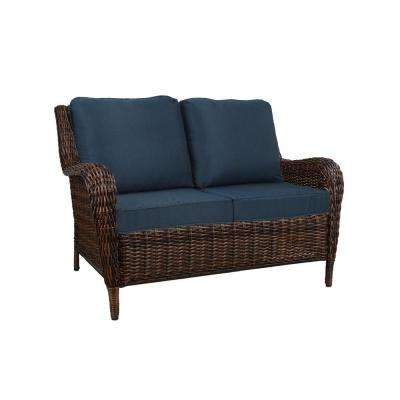 Cambridge Brown Wicker Outdoor Patio Loveseat With Standard Midnight Navy  Blue Cushions Throughout 2019 Greening Outdoor Daybeds With Ottoman & Cushions (View 5 of 20)