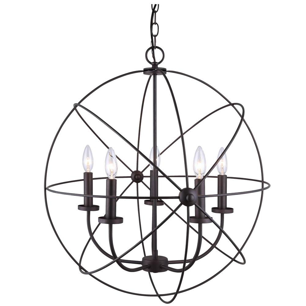 Canarm Summerside 5 Light Oil Rubbed Bronze Chandelier In In Most Popular Waldron 5 Light Globe Chandeliers (View 14 of 20)