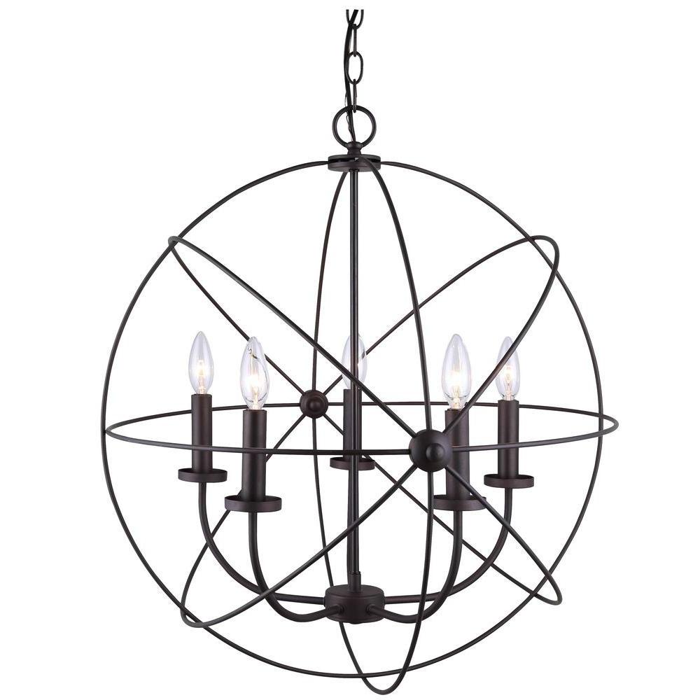 Canarm Summerside 5 Light Oil Rubbed Bronze Chandelier In In Most Popular Waldron 5 Light Globe Chandeliers (View 2 of 20)