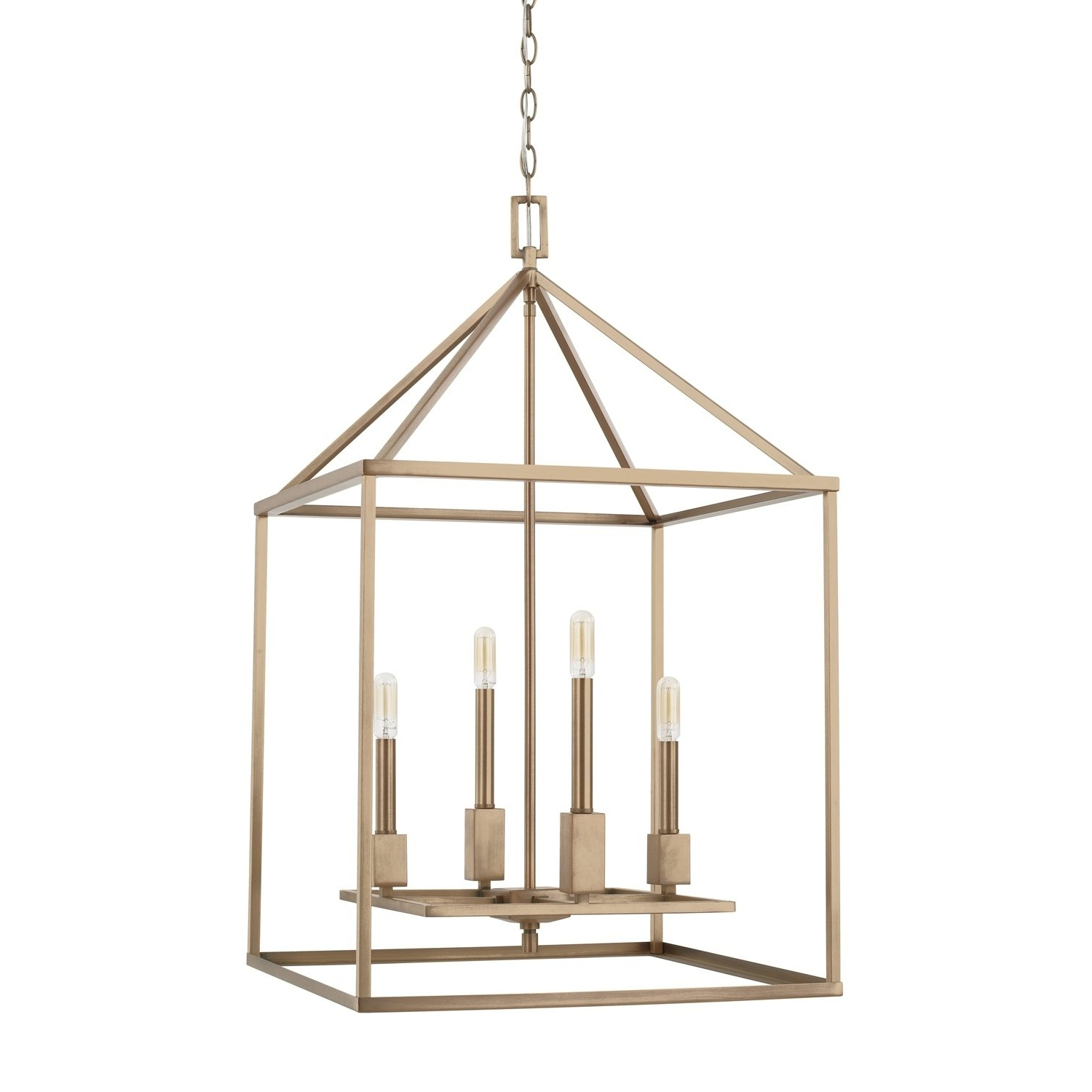 Capital Lyra Collection 4 Light Aged Brass Foyer Fixture For 2019 Freeburg 4 Light Lantern Square / Rectangle Pendants (View 2 of 20)