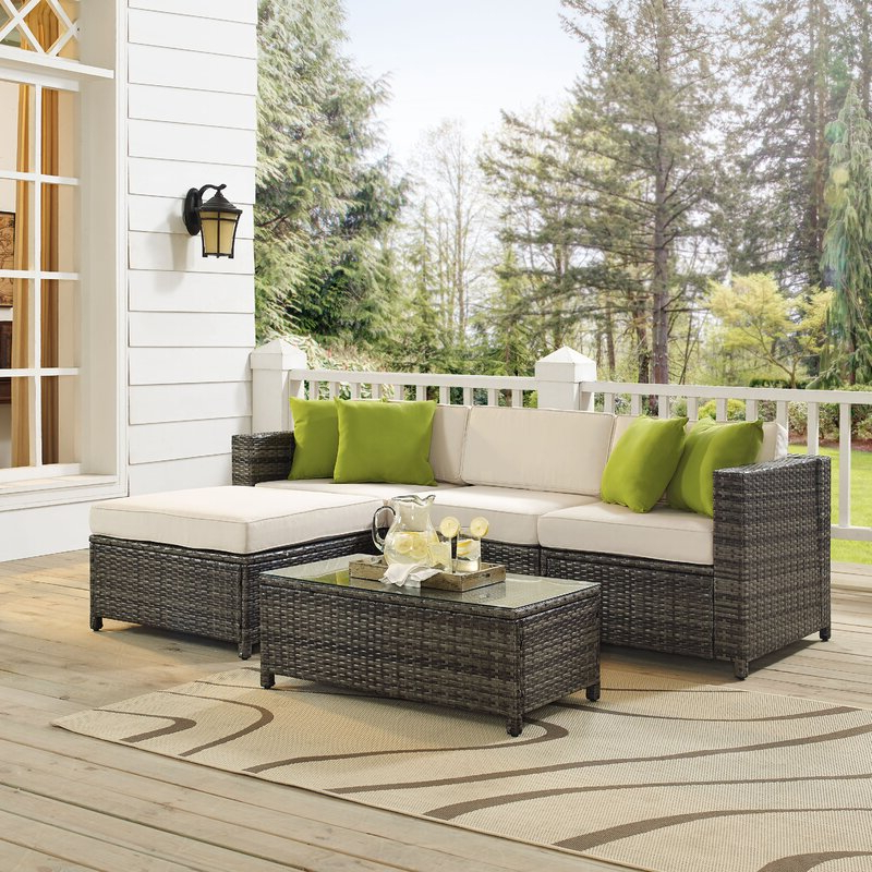 Carmelo 5 Piece Rattan Sectional Seating Group With Cushions Within Most Up To Date Larsen Patio Sectionals With Cushions (Gallery 19 of 20)