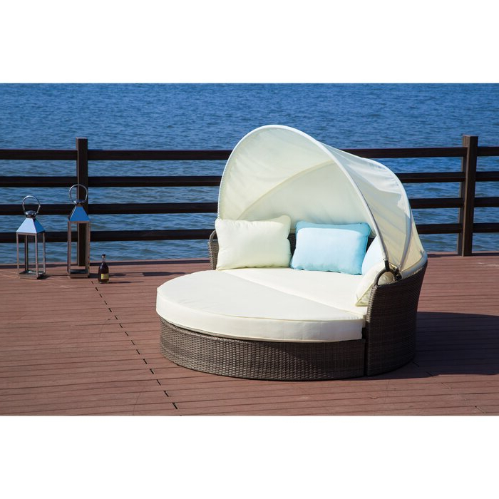 Carrasco Patio Daybeds With Cushions Regarding Fashionable Harlow Patio Daybed With Cushions (Gallery 7 of 20)