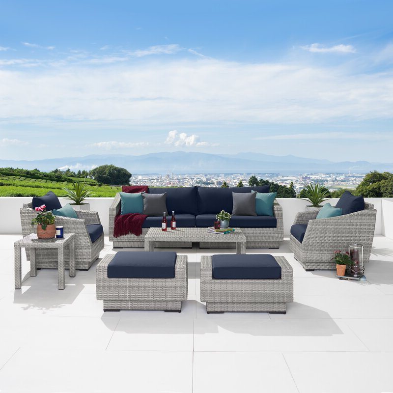 Castelli 8 Piece Rattan Sofa Seating Group With Cushions For Well Liked Castelli Patio Sofas With Sunbrella Cushions (View 20 of 20)