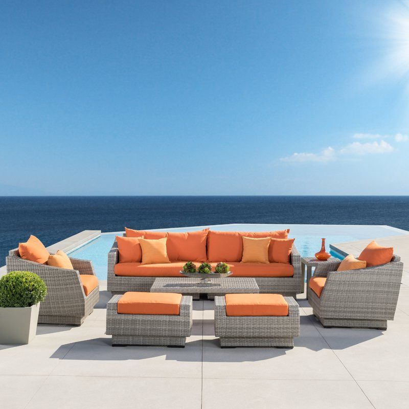 Castelli 8 Pieces Rattan Sofa Seating Group With Cushions In In Widely Used Castelli Patio Sofas With Sunbrella Cushions (View 3 of 20)