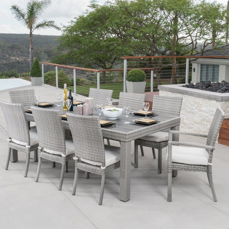 Castelli Patio Sofas With Sunbrella Cushions Inside Newest Castelli 9 Piece Dining Set With Cushions (View 8 of 20)