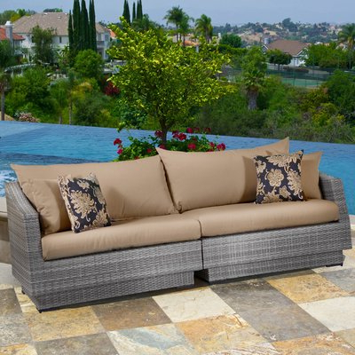 Castelli Patio Sofas With Sunbrella Cushions Intended For Most Recent Wade Logan Castelli Patio Sofa With Sunbrella Cushions (Gallery 13 of 20)