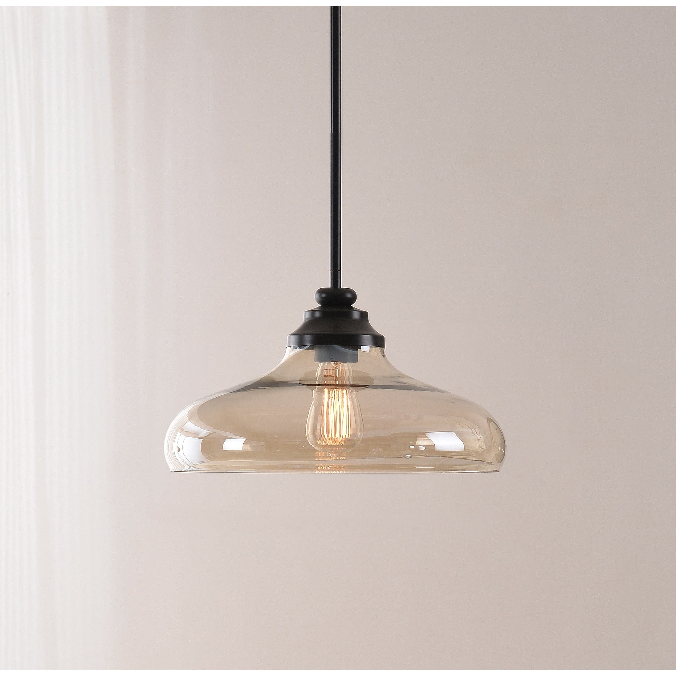 Cayden 1 Light Single Globe Pendants Inside Fashionable Caden 1 Light Pendant – Oil Rubbed Bronze With Amber Glass (View 3 of 20)