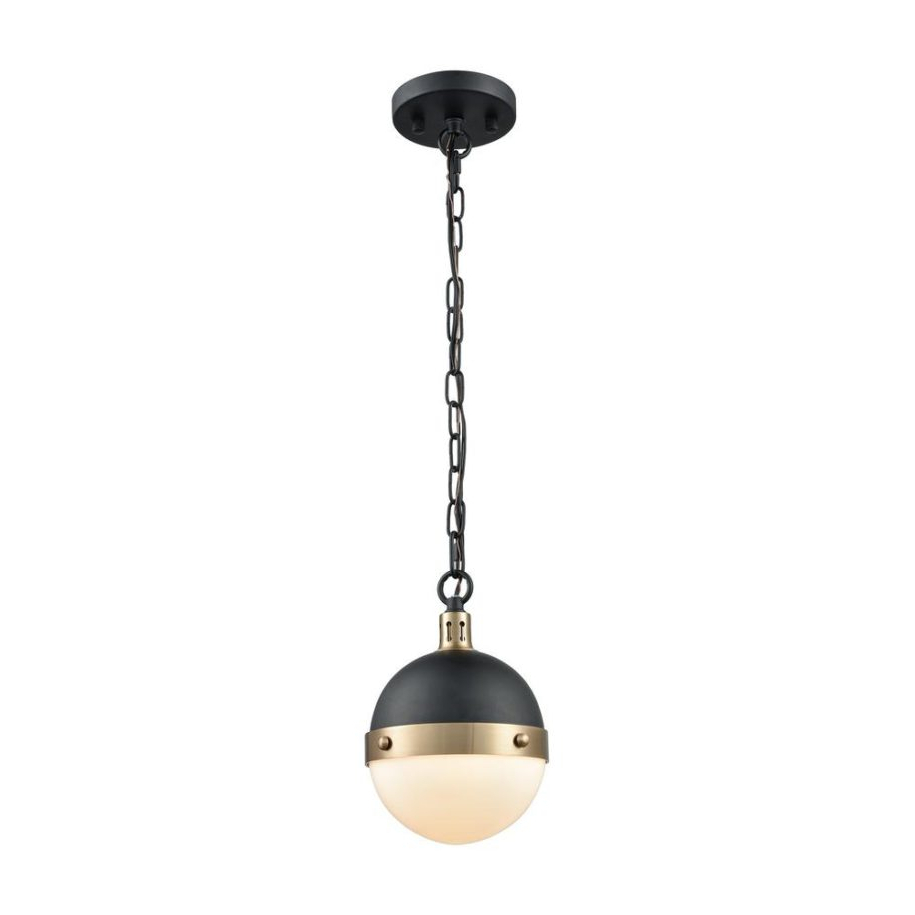 Cayden 1 Light Single Globe Pendants Pertaining To Famous Titan Lighting Harmelin Light Matte Black And Satin Brass (View 15 of 20)