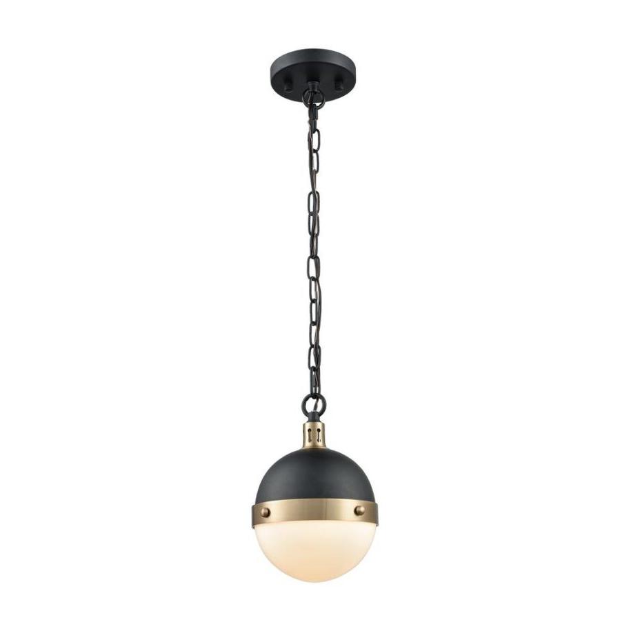 Cayden 1 Light Single Globe Pendants Pertaining To Famous Titan Lighting Harmelin Light Matte Black And Satin Brass (View 5 of 20)