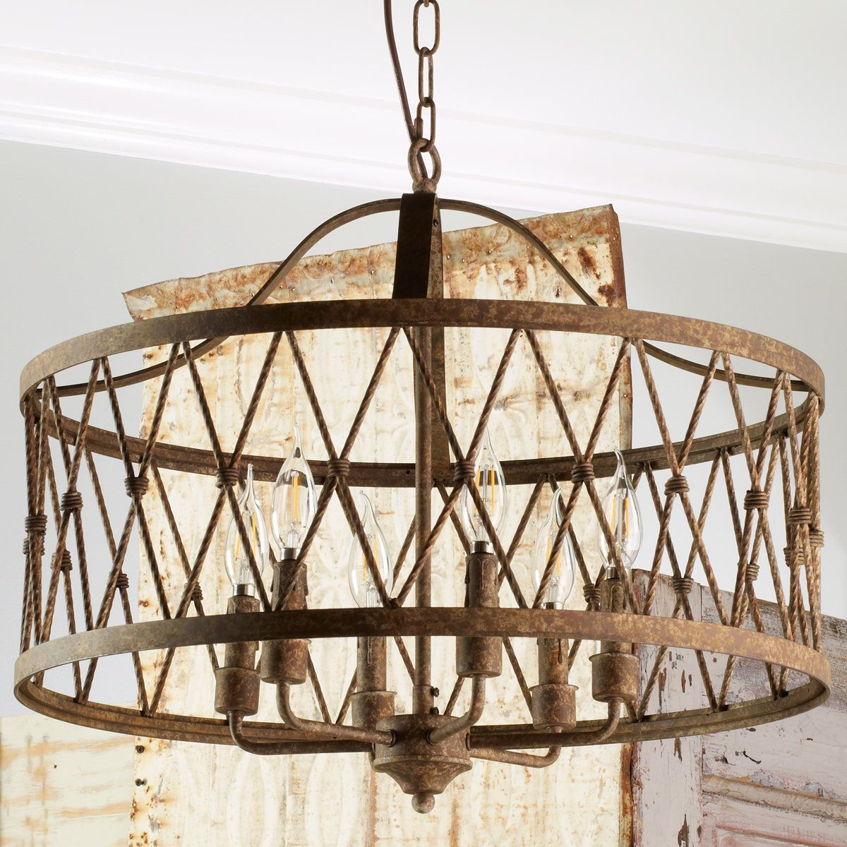 Check Out Faded Rustic Drum Cage Chandelier – 6 Light From For Fashionable Aadhya 5 Light Drum Chandeliers (View 10 of 20)