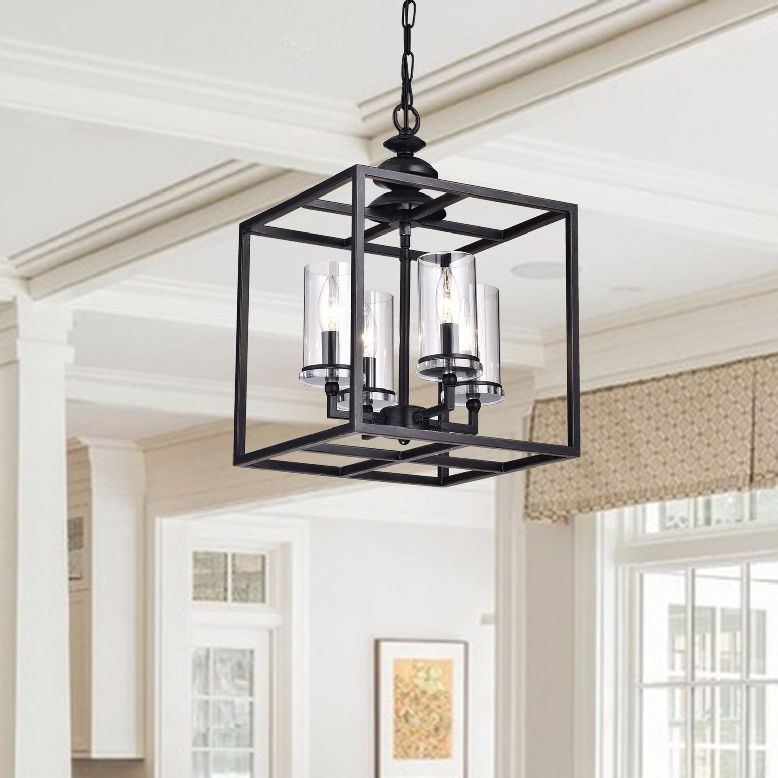 Cheverton 4 Light Square/rectangle Chandelier Throughout Most Popular Delon 4 Light Square Chandeliers (Gallery 13 of 20)