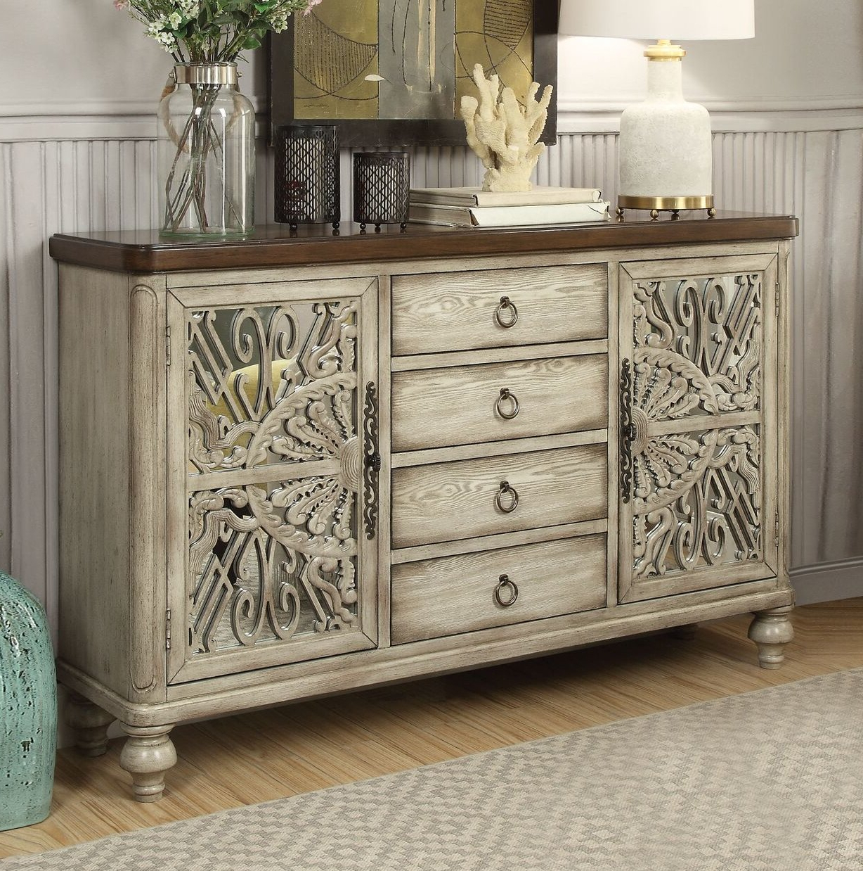 Chicoree Charlena Sideboards With Most Current Antique White Sideboard Buffet (View 9 of 20)
