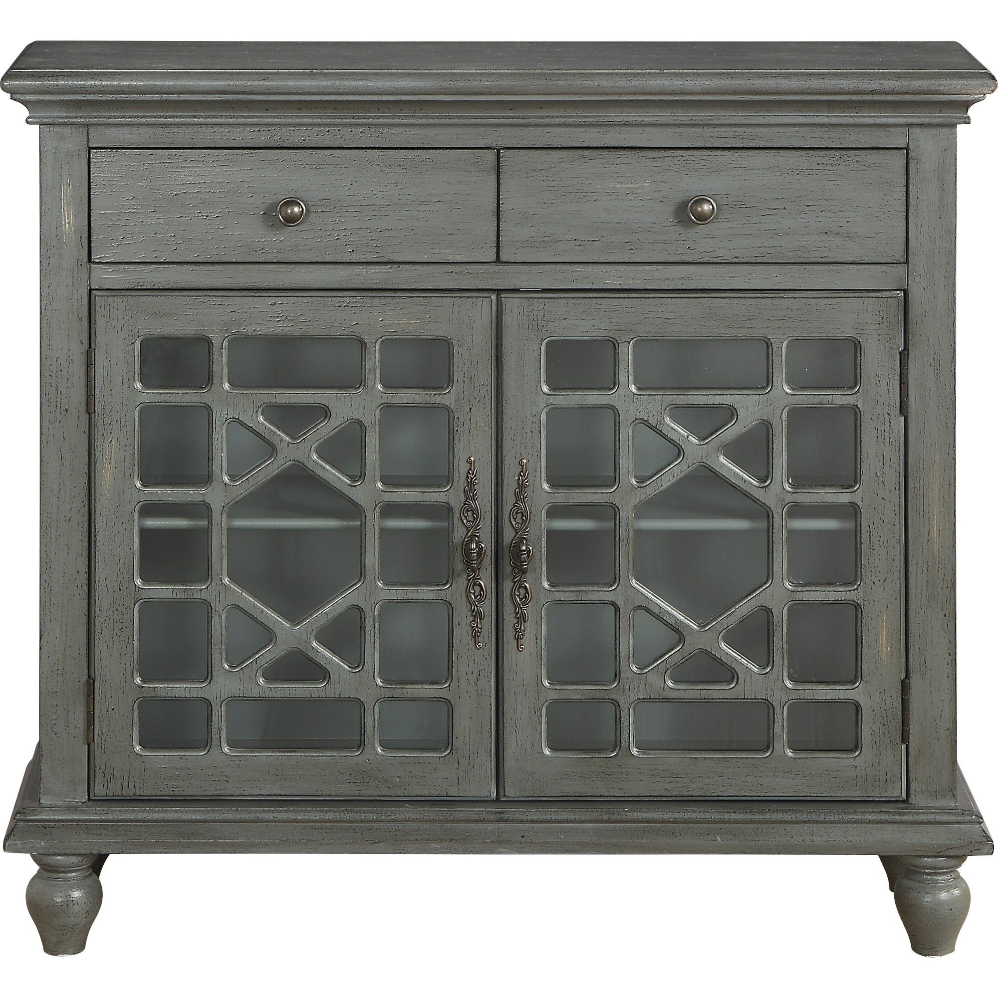 Cimmeron 2 Drawer 2 Door Cupboard Gray – Treasure Trove Throughout Well Known Raunds Sideboards (View 3 of 20)