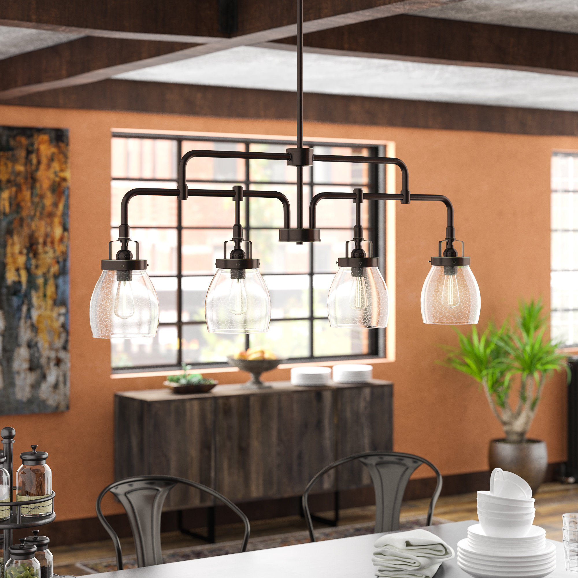 Cinchring 4 Light Kitchen Island Linear Pendants With Regard To Most Current Houon 4 Light Kitchen Island Pendant (Gallery 7 of 20)