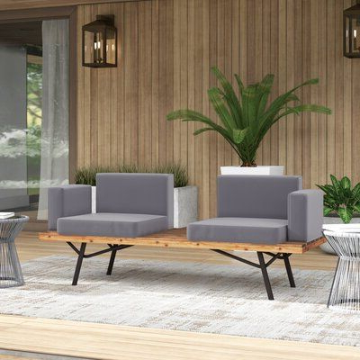 Clary Teak Lounge Patio Daybeds With Cushion In Most Up To Date Mercury Row Linch Teak Patio Sofa With Cushions In  (View 6 of 20)