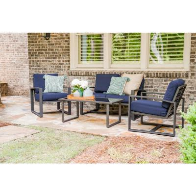 Clary Teak Lounge Patio Daybeds With Cushion Intended For Recent Leisure Made Jasper 4 Piece Aluminum Patio Conversation Set (View 7 of 20)