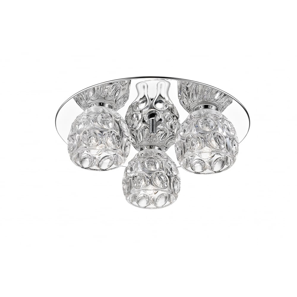 Clea 3 Light Led Flush Ceiling Fitting In Polished Chrome And Crystal Finish Throughout Current Clea 3 Light Crystal Chandeliers (View 7 of 20)