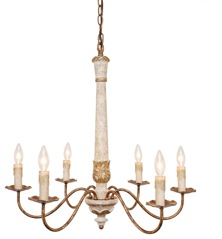 "Colette French Country Antique White Wood And Gold Chandelier, 27"" Throughout Well Known Silvia 6 Light Sputnik Chandeliers (Gallery 16 of 20)"