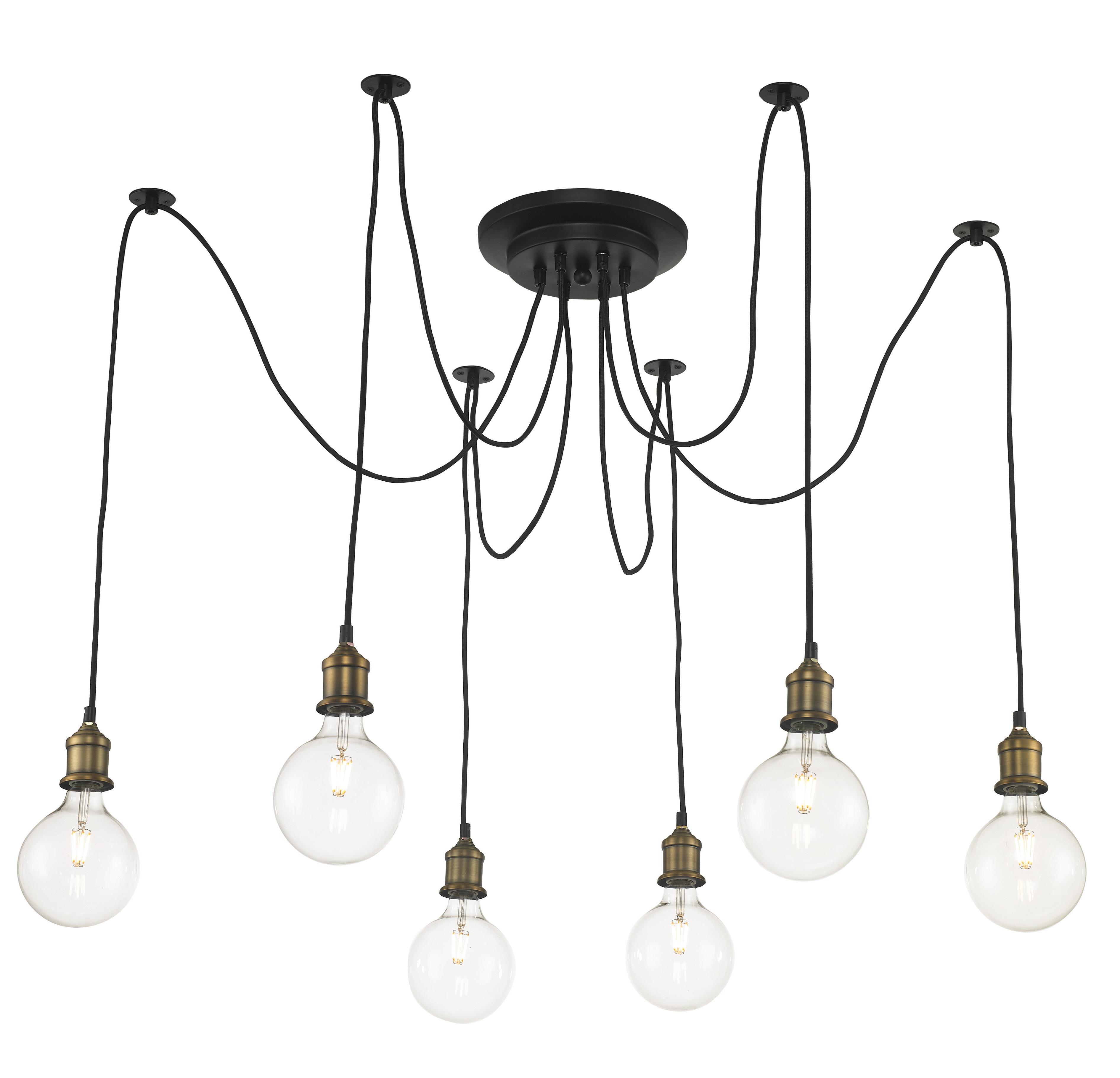 Colton 6 Light Cluster Bulb Pendant Intended For Trendy Gattilier 3 Light Cluster Pendants (View 5 of 20)