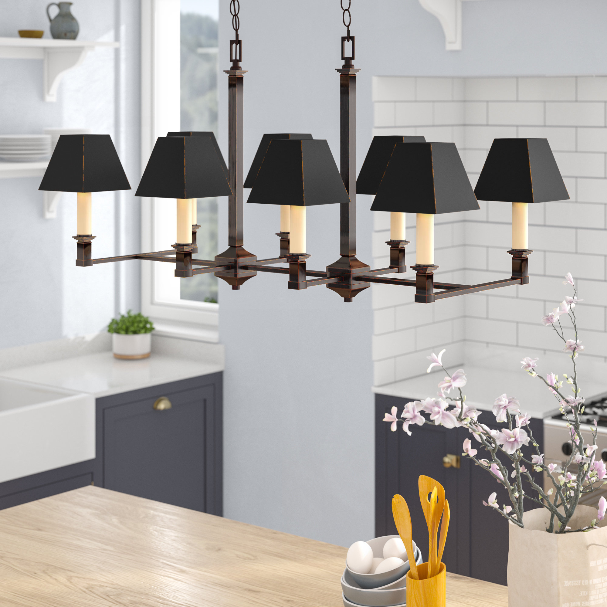 Columbine Valley 8 Light Kitchen Island Linear Pendant With Regard To 2019 Zachery 5 Light Led Cluster Pendants (View 3 of 20)