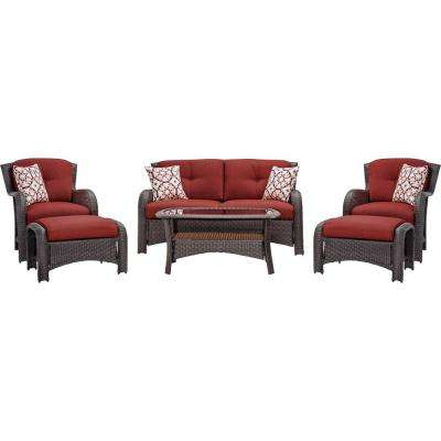 Corolla 6 Piece Wicker Patio Conversation Set With Red Cushions In Famous Ellison Patio Sectionals With Cushions (View 14 of 20)