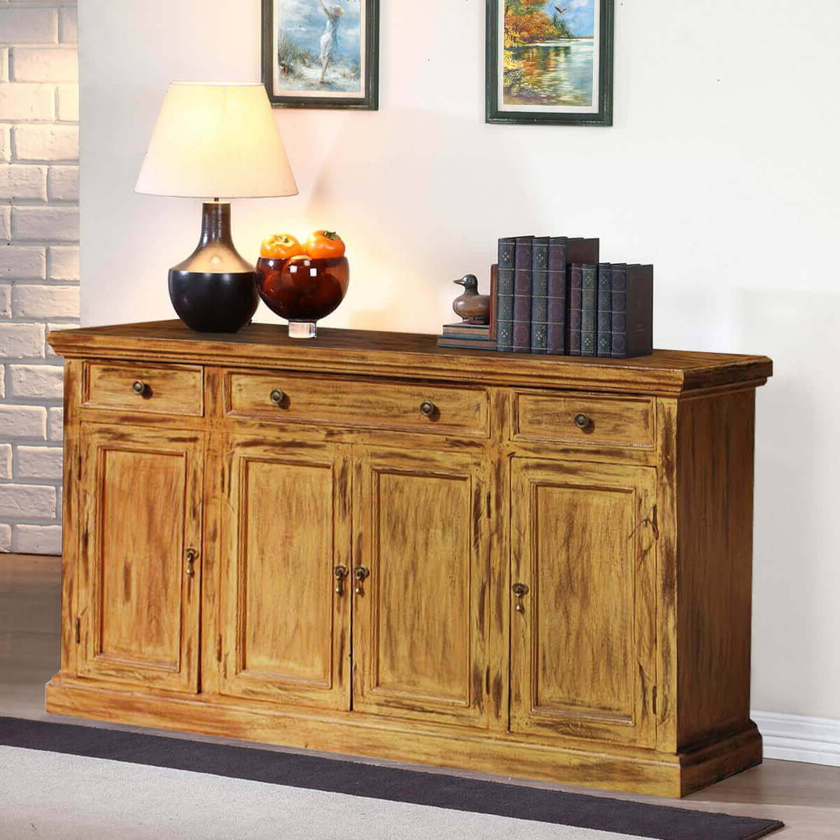 Courtdale Rustic Solid Wood 4 Door 3 Drawer Large Sideboard Cabinet Within Well Known Courtdale Sideboards (View 4 of 20)