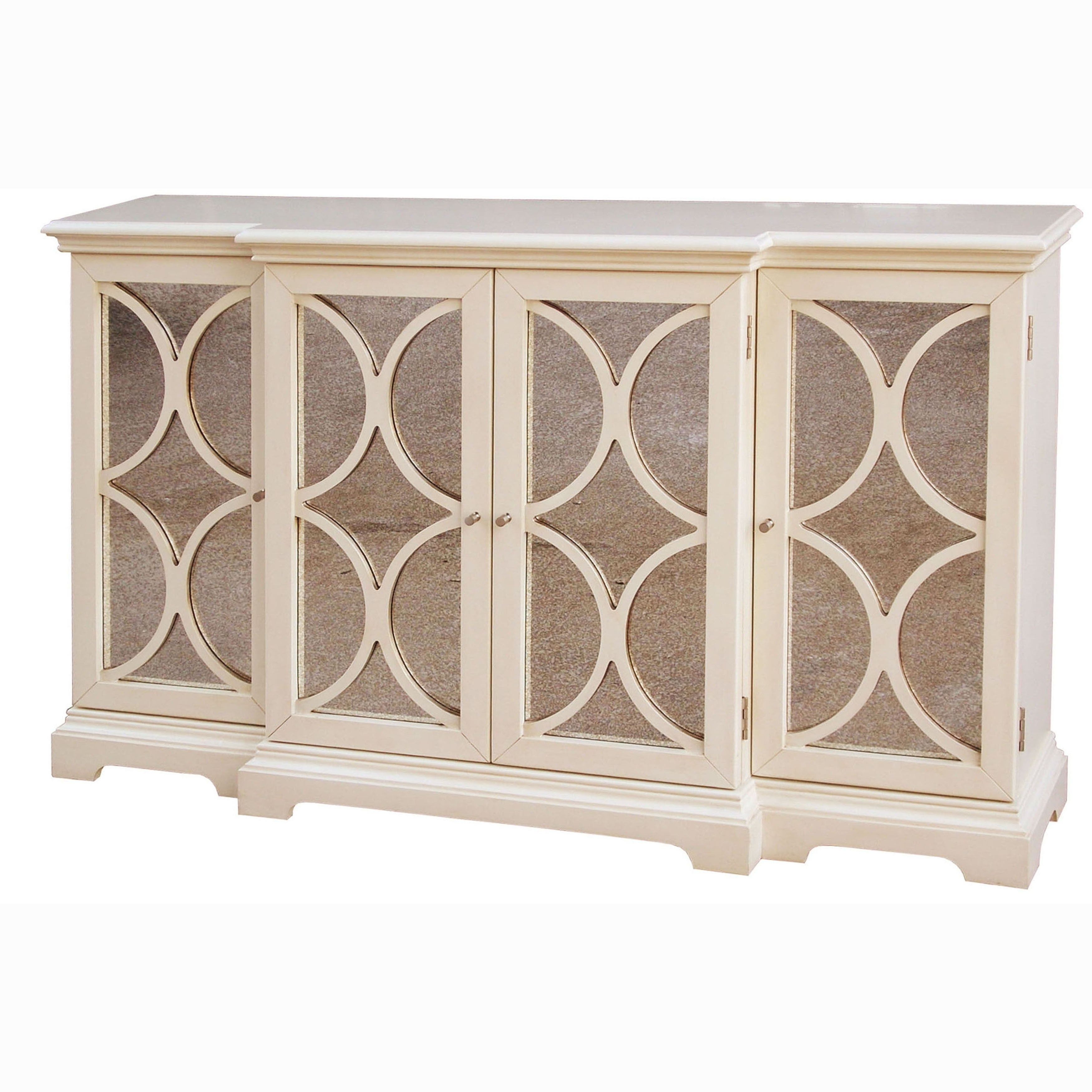 Cream Finish Antiqued Mirror Accent Chest/ Credenza, Multi In Most Up To Date Elyza Credenzas (View 4 of 20)
