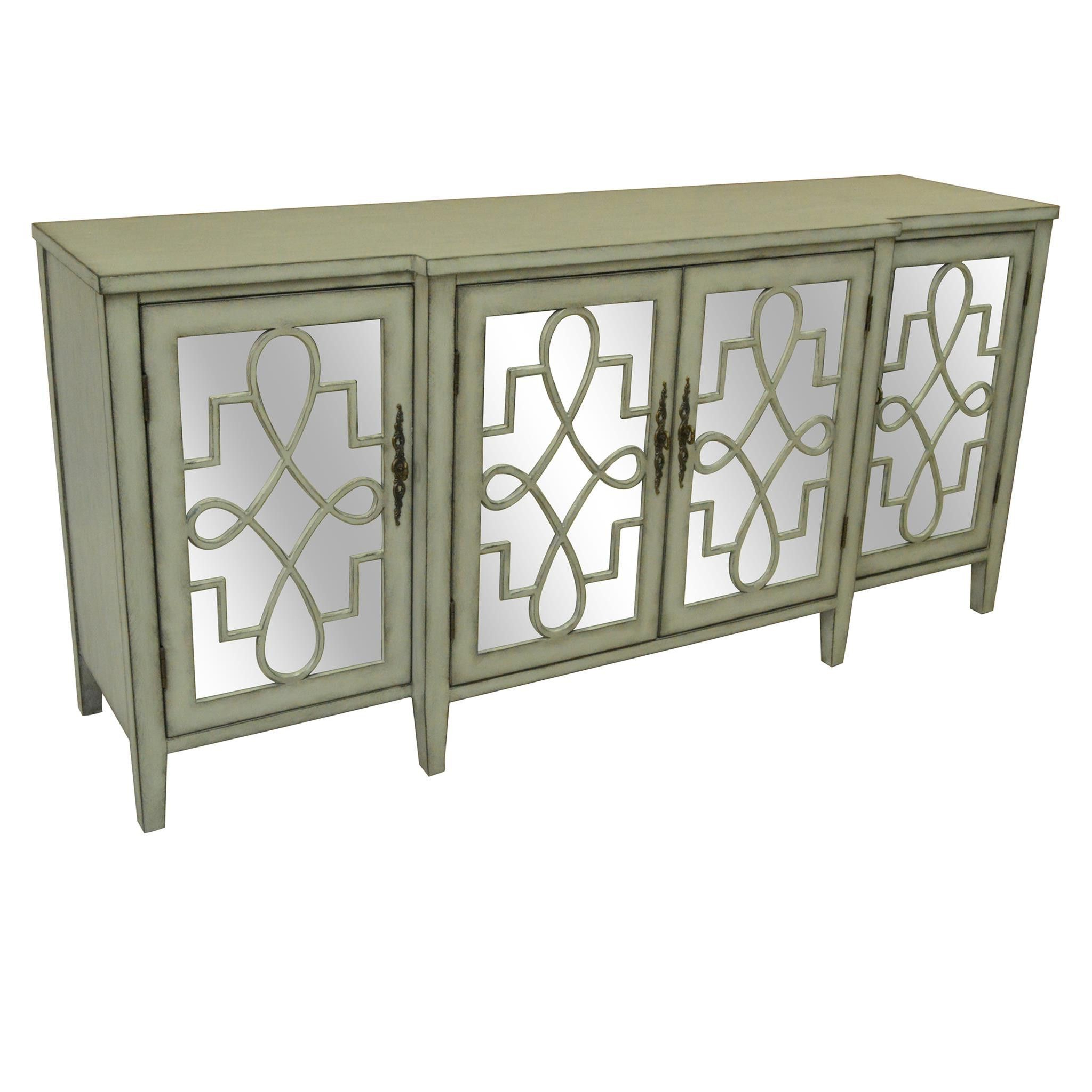 Crestview Isabelle 4 Door Breakfront Grey And Mirrored Within Best And Newest Mauzy Sideboards (View 2 of 20)