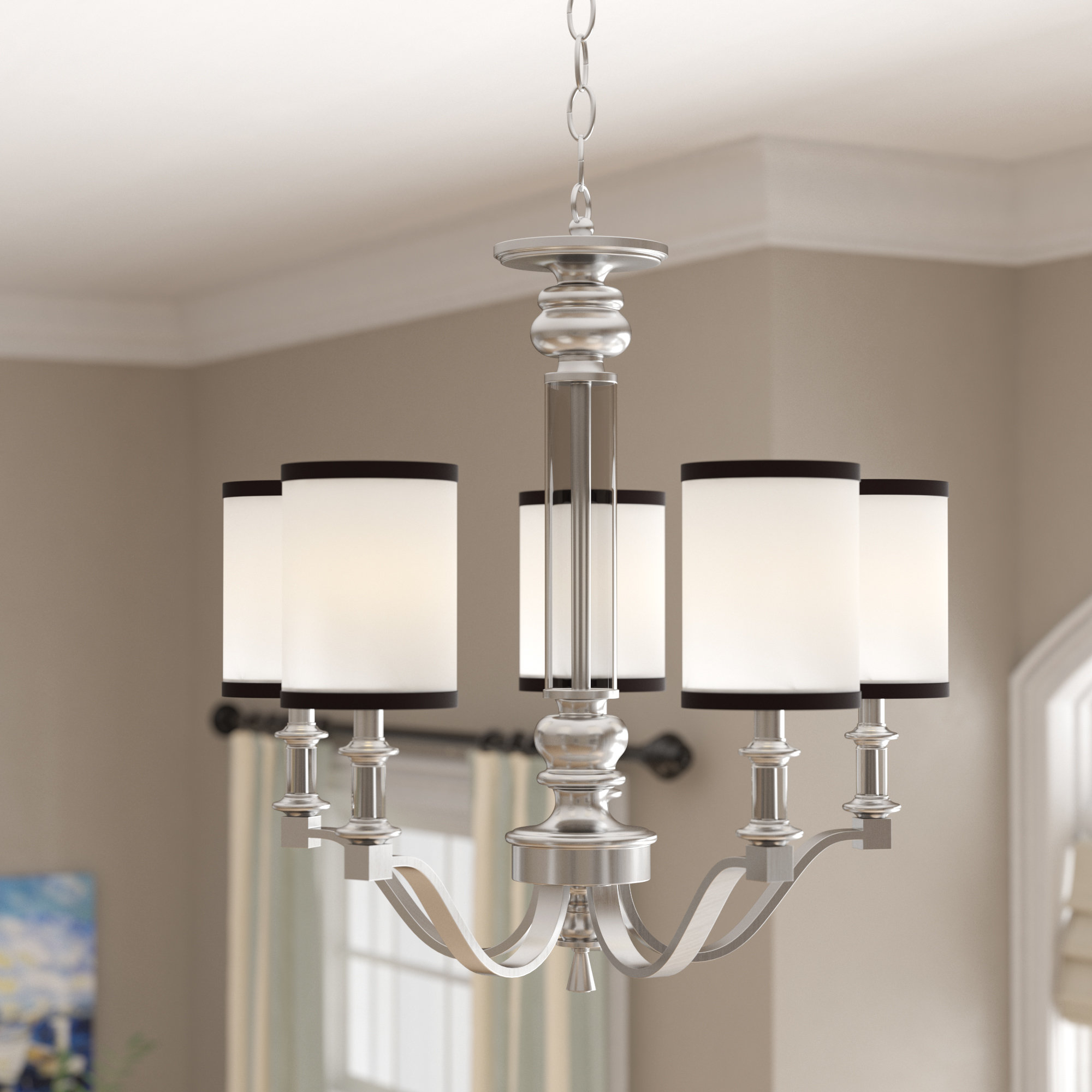Crofoot 5 Light Shaded Chandeliers Throughout Most Up To Date Breakwater Bay Pfeffer 5 Light Shaded Chandelier & Reviews (View 6 of 20)