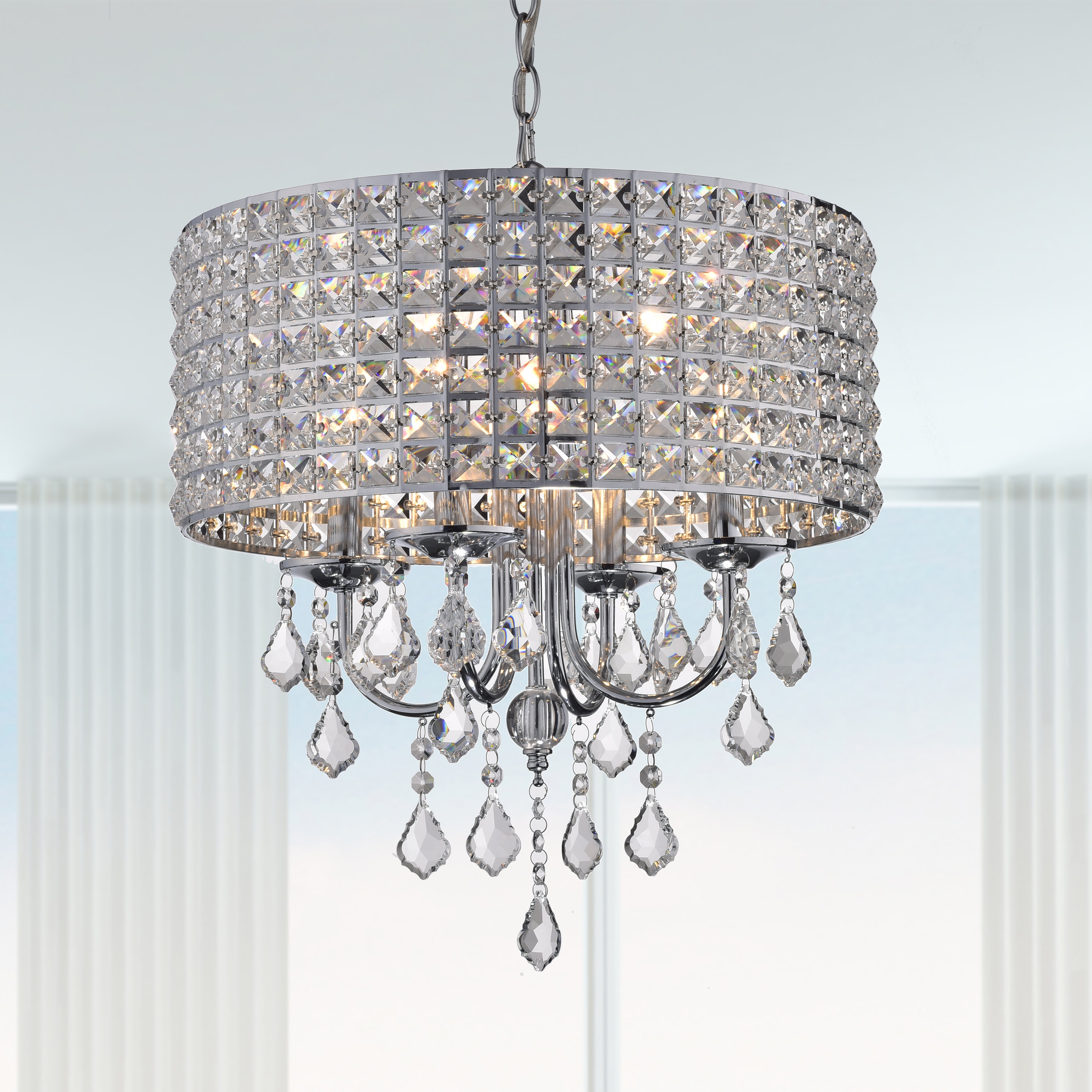 Current Albano 4 Light Crystal Chandelier Throughout Mckamey 4 Light Crystal Chandeliers (View 6 of 20)