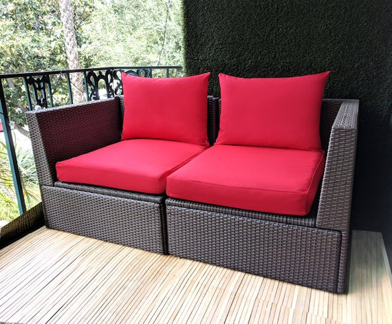 Current Bullock Outdoor Wooden Loveseats With Cushions With Ikea Outdoor Slip Cover, Ikea Cushion Covers, Custom Ikea Decor, Bespoke  Arholma Covers, Sunbrella Red (View 11 of 20)