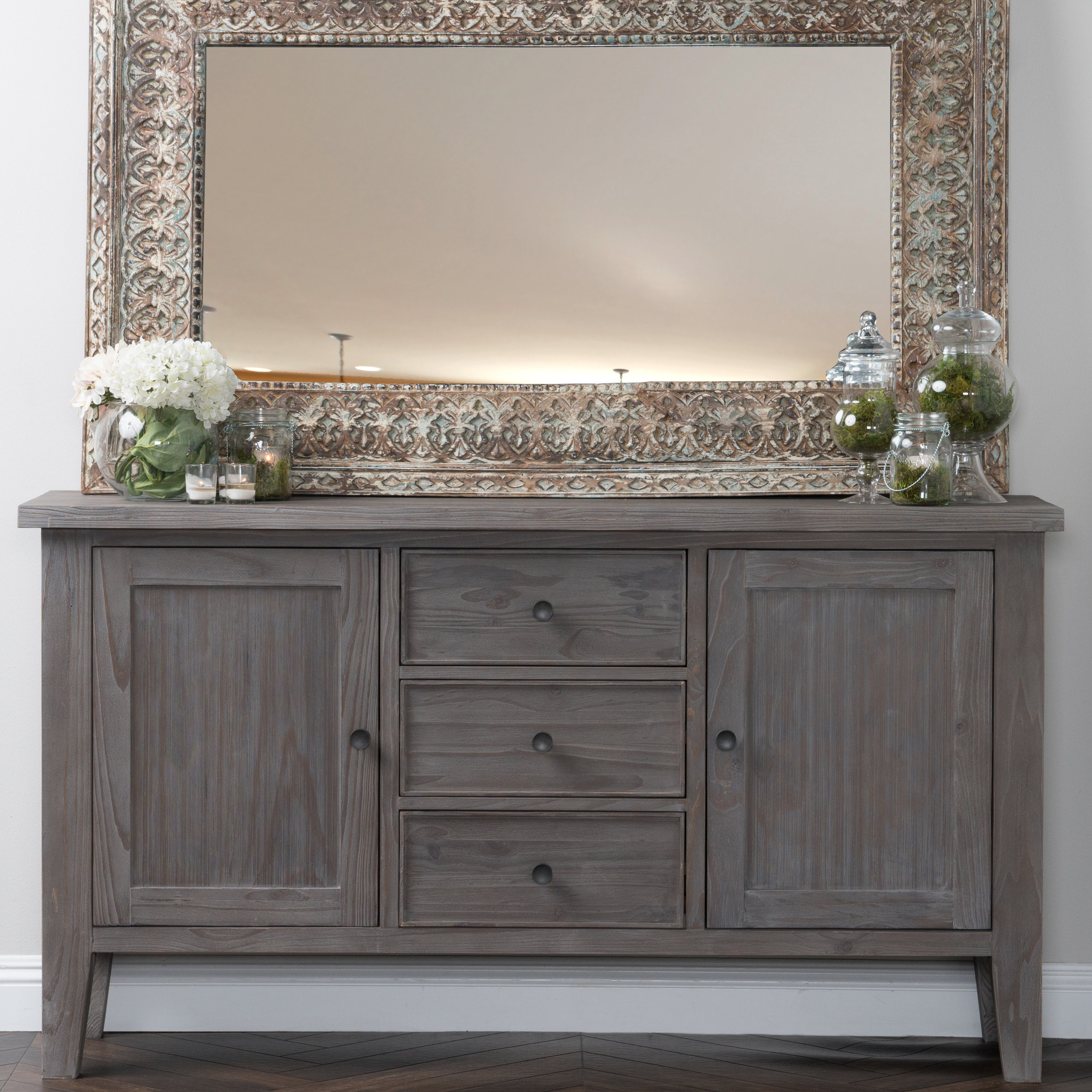 Current Candide Wood Credenzas Throughout Farmhouse & Rustic Gray Wood Sideboards & Buffets (Gallery 20 of 20)