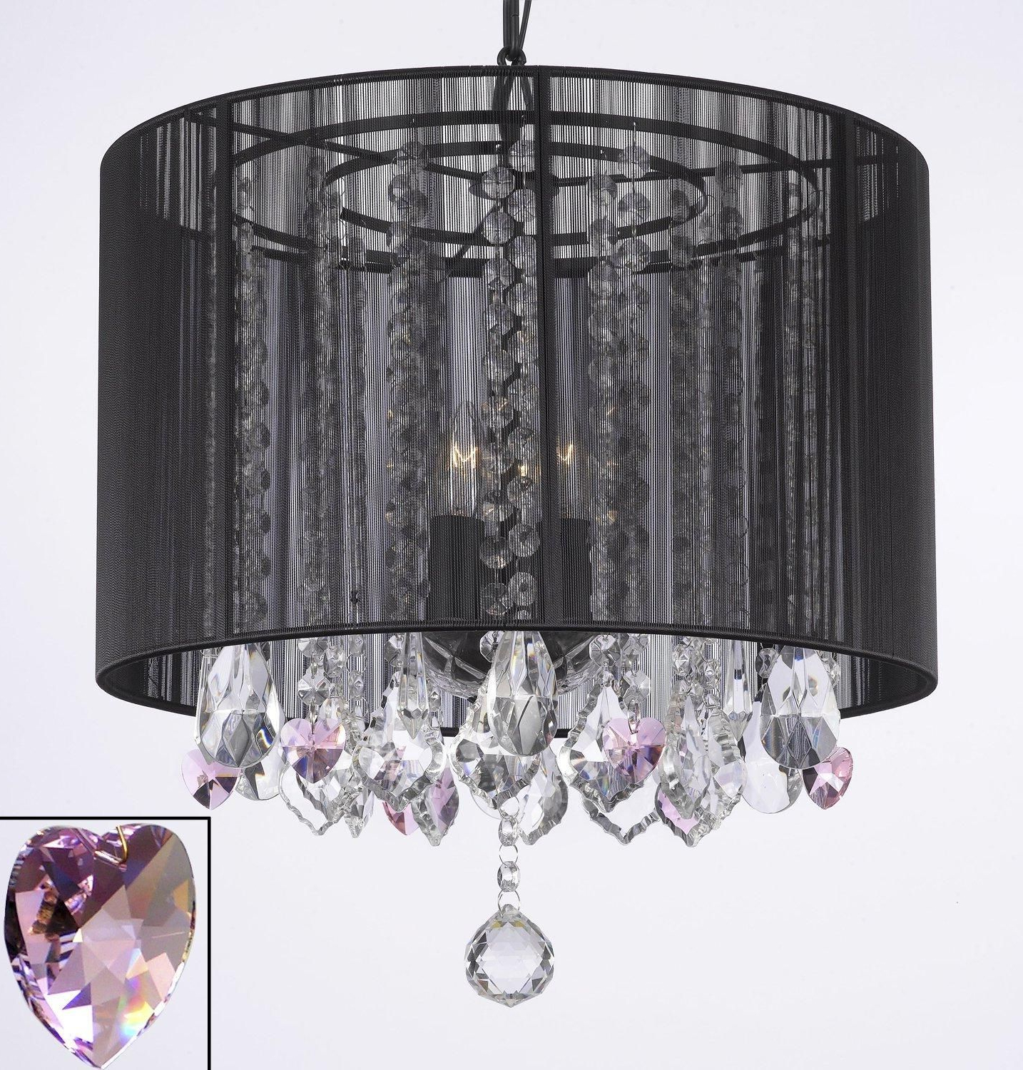 Current Crystal Chandelier With Large Black Shade & Pink Crystal With Sinead 4 Light Chandeliers (View 10 of 20)