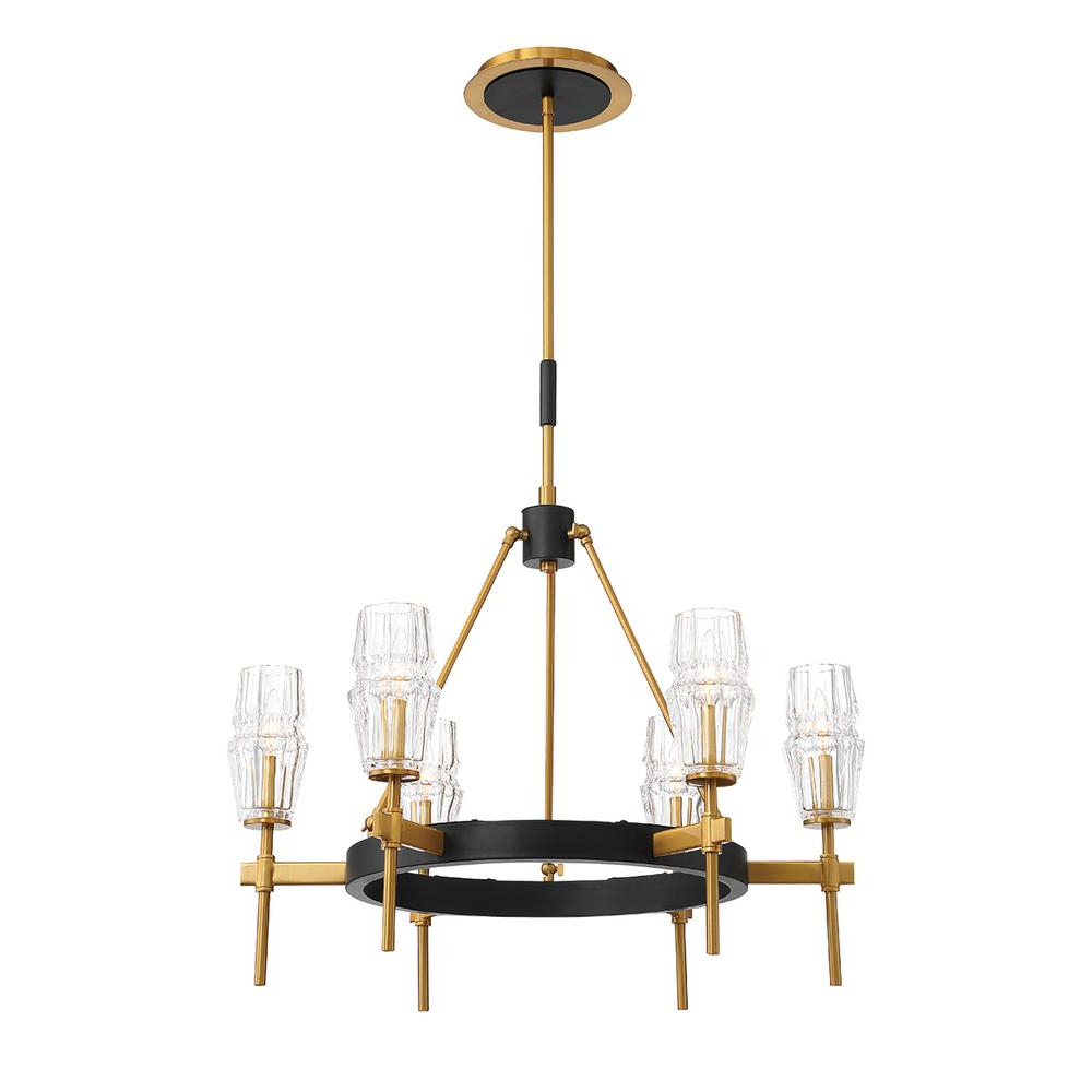 Current Eurofase Gladstone 6 Light Antique Brass/black Chandelier With Glass Shade With Millbrook 5 Light Shaded Chandeliers (View 3 of 20)