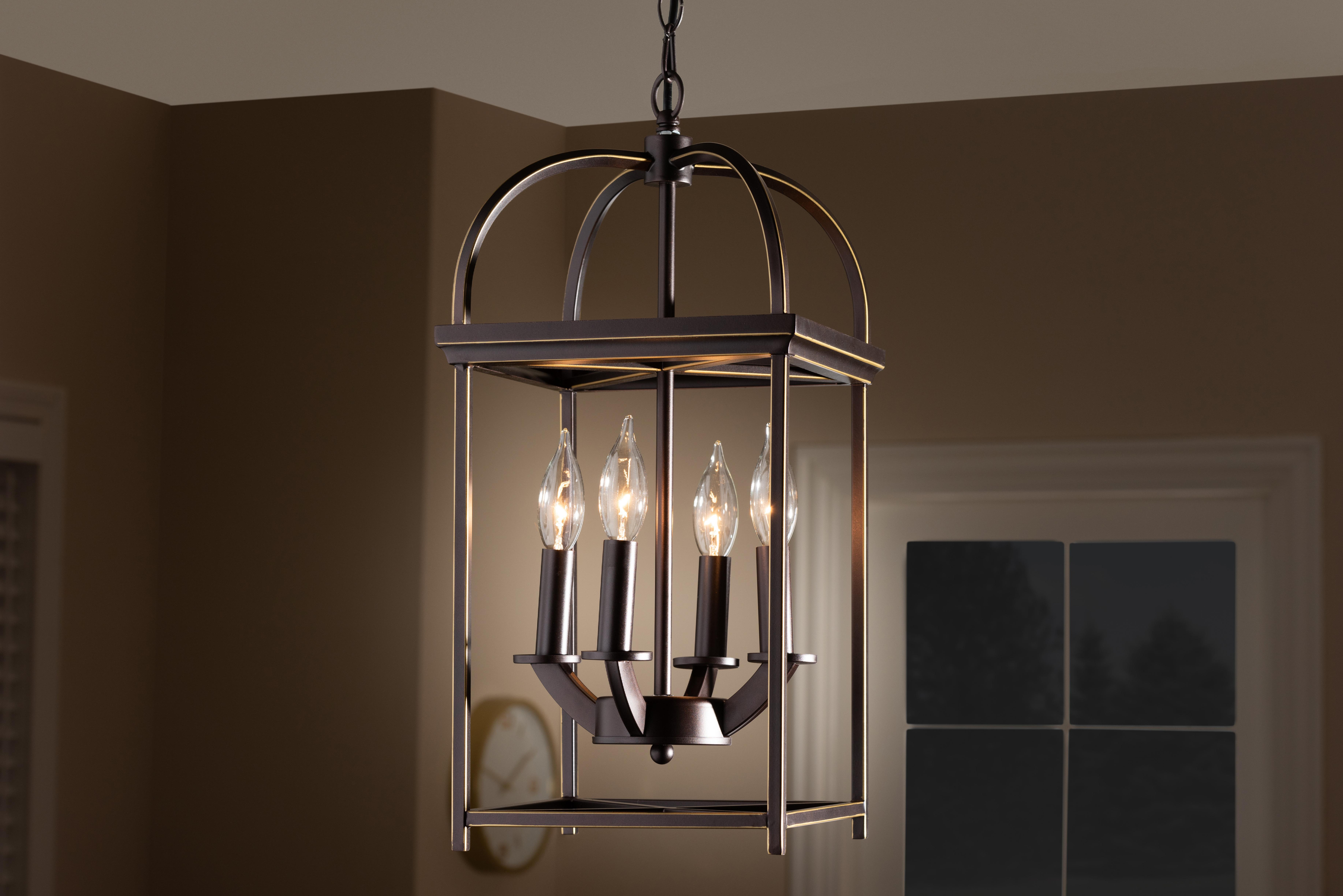 Current Freeburg 4 Light Lantern Square / Rectangle Pendants In Ashley 4 Light Mini Chandelier (View 3 of 20)
