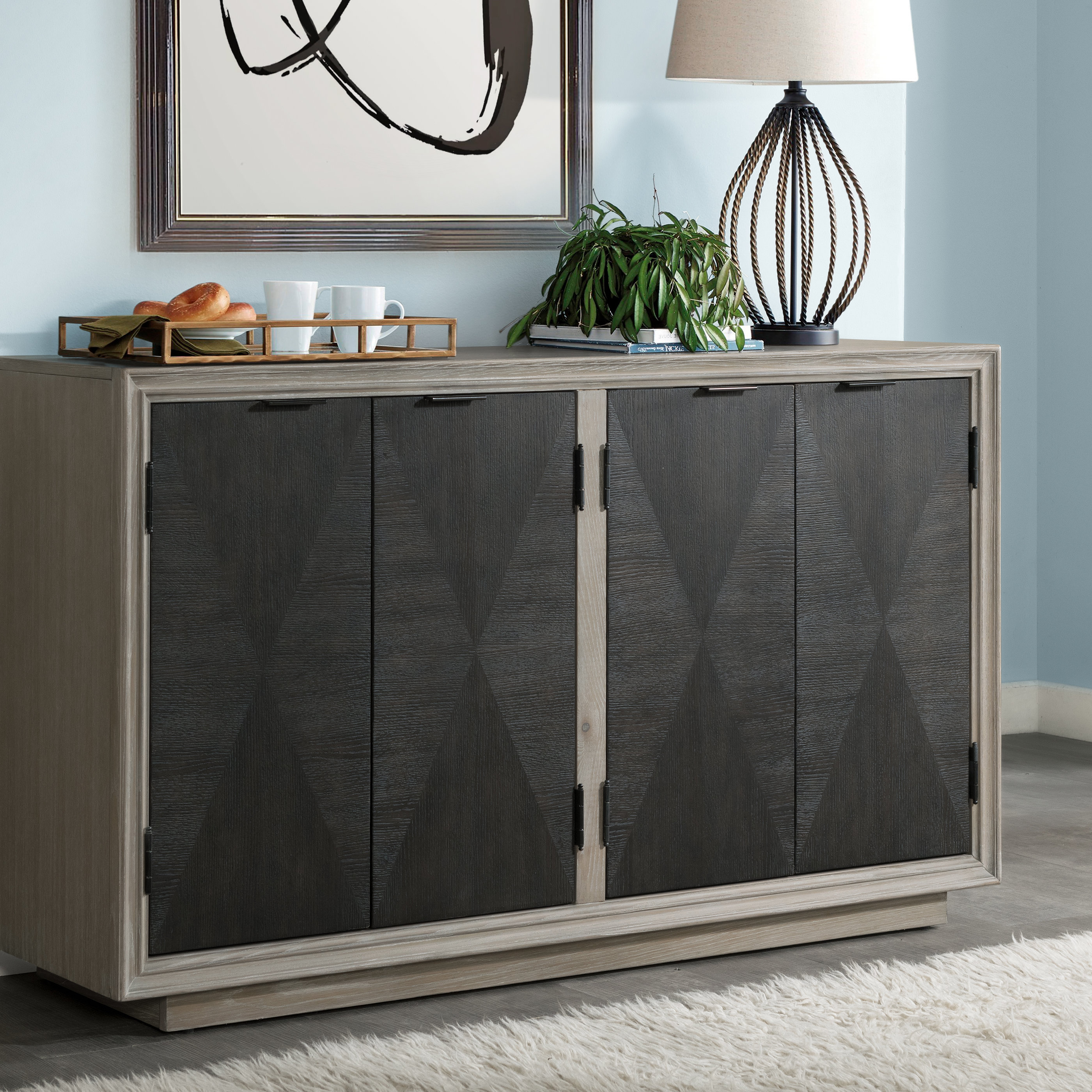 Current Hoover Four Door Duotone Parquet Sideboard Pertaining To Massillon Sideboards (Gallery 13 of 20)